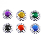 (Price/6 Pcs)GOGO Hand Bag Purse Hook Hanger, Assorted Crystal Surrounded By Diamonds Foldup