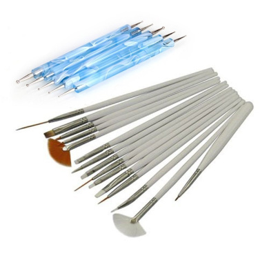 Well-Goal 15pcs Nail Art Design Painting Drawing Brushes with 5pcs 2 Way Marbleizing Dotting Pen Tools Set