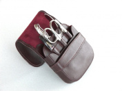 Luxury Burgundy Leather Manicure Pedicure Set for Men with Solingen Tools