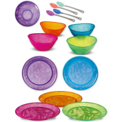 Munchkin 5 Pack Multi Bowls With 4 Pack White Hot Safety Spoons & 5 Pack Multi Plates