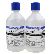 Steroplast Sterowash Saline Eye Wash Solution - 2 x 500ml Bottles