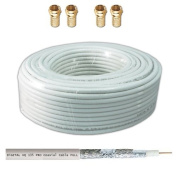 130dB 15m Coaxial SAT Cable HQ-135 PRO 4 x Covered for DVB-S / S2 DVB-C and DVB-T BK Assemblies + 4 Gold Plated F-Connectors Set Free