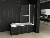 180° Pivot Sail Style Double Panel Over Bath Shower Screen 6 mm Glass With Towel Handle