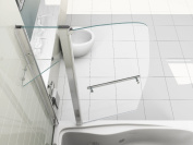 180° Pivot Sail Style Double Panel Over Bath Shower Screen 6 mm Glass With Towel Handle And Shelf