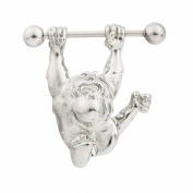 1 Pair 316L Surgical Steel 14G Retro Ape Man Stainless Steel Nipple Shields Bar Ring Body Piercing