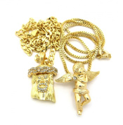 Pave Jesus & Solitaire Cherub Micro Pendant Necklace Set with 61cm Cuban/Box Chains - Gold-Tone