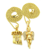 Paved Crown Jesus & Praying Angel Micro Pendant Set with 61cm 76.2cm Rope Chain Necklace - Gold-Tone