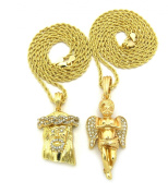 Iced Out Jesus & Praying Cherub Micro Pendant Necklace Set with 61cm 76.2cm Rope Chains - Gold-Tone
