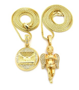 The Last Supper & Praying Angel Pave Micro Pendant Necklace Set with 61cm 76.2cm Box Chains - Gold-Tone