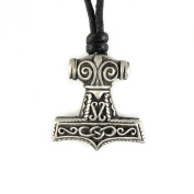 Mystical & Magical Pewter Thors Hammer Celtic Pewter Pendant approx 2.5cm in size - on an adjustable rope Necklace