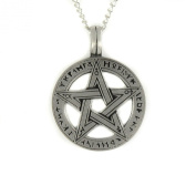 Mystical & Magical Pewter Runic Pentagram Pendant on a 46cm Chain Necklace Pentacle Pagan Wiccan
