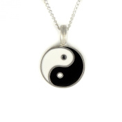 Mystical & Magical Pewter Yin Yang Pendant - on a 46cm Chain Necklace Black & White Taijitu ying Symbol