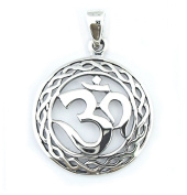 Solid Sterling Silver Om Aum Omkara Pendant Charm P050