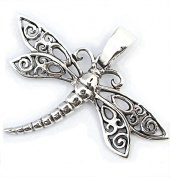 Solid Sterling Silver Dragonfly Damselfly Pendant P048