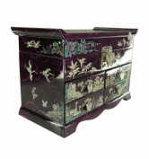 Large purple jewellery box genuine mother of pearl decorationsl, asian design, crafts Korean. Many storages and mirror.