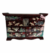 Large red jewellery box, natural mother of pearl, velvet, and special storage space for rings, mirror. Asian luxury.