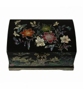Small black jewellery box, design flowers and butterflies. handicraft decoration made of natural nacre. Traditional luxury from asia