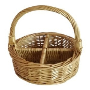 4 Section Round Buff Willow Wicker Condiment Divided Basket
