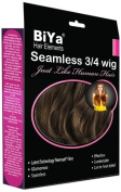 BiYa Hair Elements Thermatt Clip In Half 3/4 Wig Hair Extensions Natrual Wave, Faded Dark Brown Number 4b 60cm