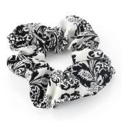 White & Black Paisley Print Hair Scrunchie AJ28017