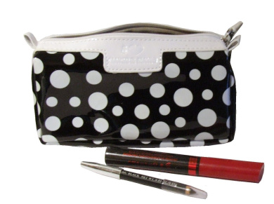 Black White Spotty Wash / Cosmetic Bag (Spotty Makeup Bag)