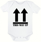 THIS WAY UP FUNNY NOVELTY BABY GROW,BABY SUIT,BABY ONESIE,0-3 MONTHS,3-6 MONTHS,6-12 MONTHS