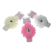 Baby Girls Crotchet Flower Diamonte Head Band by Soft touch