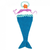 Baby Girl Infant Crochet Flower Heandband Mermaid Tail Cocoon Costume Outfit Newborn Photo Props