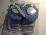 Blue My 1st Socks Soft Booties with slogan