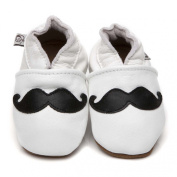 Soft Leather Baby Shoes Moustache White 12-18 months