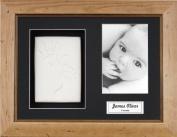 Anika-Baby BabyRice Baby Handprint Footprint Kit Soft White Clay Dough Rustic Pine Box Photo Display Frame
