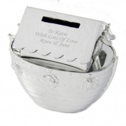Personalised Noahs Ark Money Box, Christening or Birth Gift Engraved Free