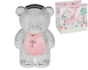 Silver Plated Teddy Money Box with Cross and Gift Bag for Girl