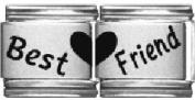 Best Friend double laser charm- 9mm Italian charm will fit Nomination classic bracelet