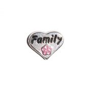 Family in heart Pink flower - 10mm floating charm fits Living memory and Origami Owl style lockets