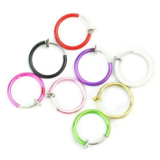 Clip On Fake Piercings 8 Colour Rings Ear Nose Lip Belly Ring Fancy Dress Punk