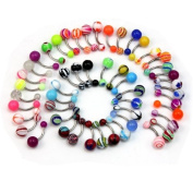 50 Pcs MIX Assorted Ball Belly Navel Barbell Bars Rings Body Piercing Jewellery