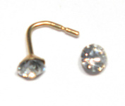 3 mm Round Austrian Crystal Nose Stud - Genuine 9ct Gold. Presented in Rigid, Clear Lidded Plastic Box. Add a little sparkle to your life!