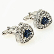 AMDXD Crystal Cubic Zirconia Men's Shirt Cufflinks Blue CZ Hearts Silver Cuff Links Wedding Gift Box