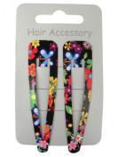 Pair of Bright Floral Print Black Hair Clips Snap Bendies Sleepies 6.5cm
