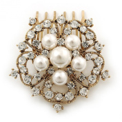 Bridal/ Wedding/ Prom/ Party Antique Gold Tone Austrian Clear Crystal, Glass Pearl 'Open Flower' Hair Comb - 55mm