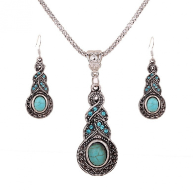 Yazilind Jewellery Tibetan Silver Inlay Oval Turquoise Charming Crystal Necklace Earrings Set for Wome