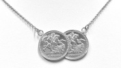 Sterling Silver Double Coin Necklace George & Dragon