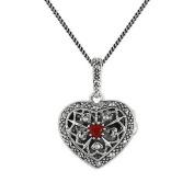 9pt Cornelian & Marcasite 925 Sterling Silver Heart Locket 45cm Necklace