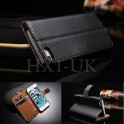 Zonewire® BLACK LUXURY GENUINE LEATHER WALLET CASE COVER & SCREEN PROTECTOR FOR APPLE IPHONE 4 /4S 5 5S 5C