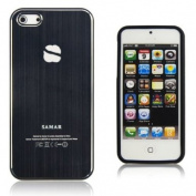 SAMAR® - New Apple iPhone 5 Aluminium Hard Black Bumper Case Cover engraved with Samar Mirror Logo and Screen Protector