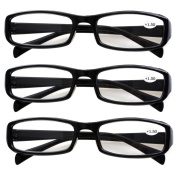 Southern Seas 3 Pairs (Black Frame) Womens Mens Durable Reading Glasses Strength +1.50 New