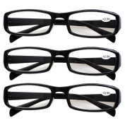 Southern Seas 3 Pairs (Black) Womens Mens Indestructible Reading Glasses For Computer Strength +2.50