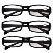 Southern Seas 3 Pairs (Black) Womens Mens Everyday Reading Glasses Spectacles Strength +1.00