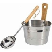 EOS Sauna Accessory Set Bucket and Ladle Stainless Steel
